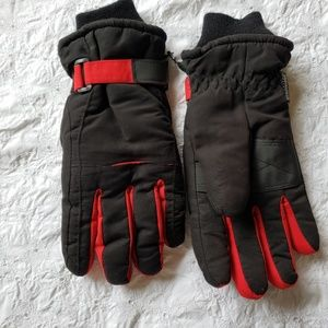 Thinsulate black and red woman snow gloves L